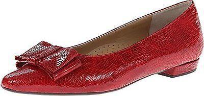Vaneli Womens Garen Red Lizard Patent Flat