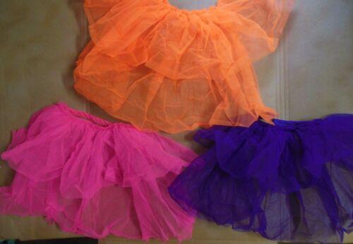 NWOT DANCE COSTUME Tap BackSkirt Bustle Organdy 3 colors ch//ladies szs Neons blk