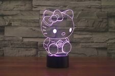 Hello Kitty 3D Night Light 7 Color Change LED Desk Lamp Touch Room Decor Gift