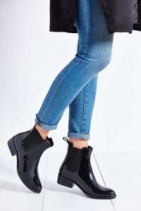 43801a1f240 WOMENS SAM EDELMAN Rubber Rain Boots Black Gloss Chelsea Tinsley ...
