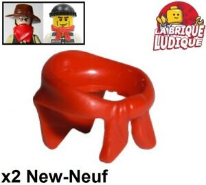 Lego 2x Minifig Foulard Bandana Scarf Bandit Train Winter Rouge
