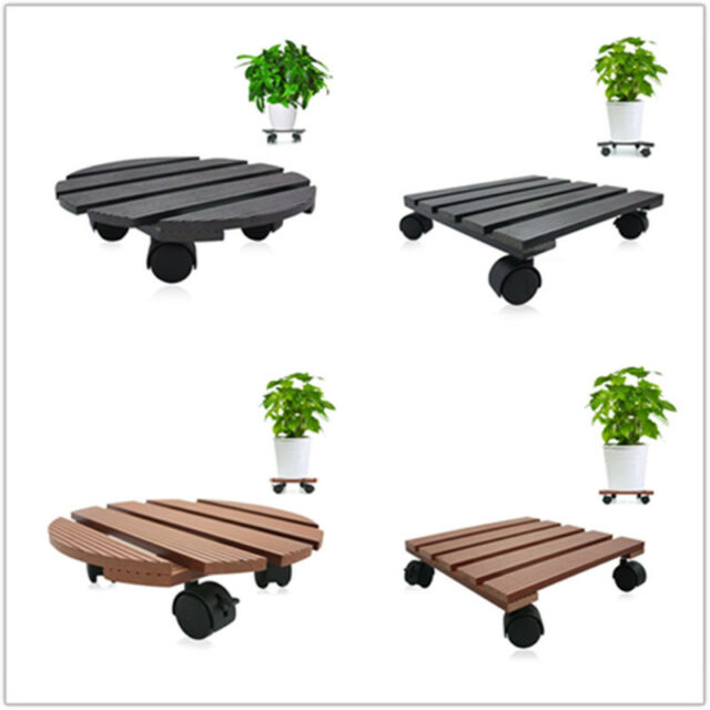Black Plant Dolly Stand 16 in Rolling 5 Wheels Heavy Duty Caddy Holder Patio Pot Perfect Garden Flower pots Mobile