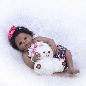 Biracial-Reborn-Baby-Doll-African-American-Girl-22-034-Black-Skin-Full-Body-Vinyl