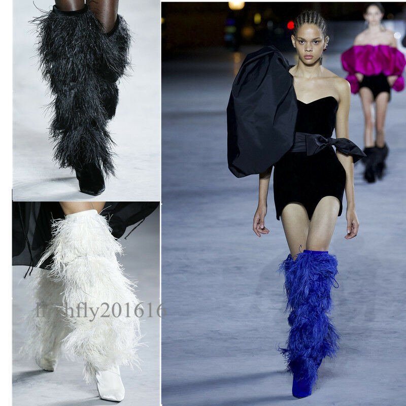 Damenschuhe Stiefel Stiefelletten Modenschau pumps Spitz Fell Fashion neu