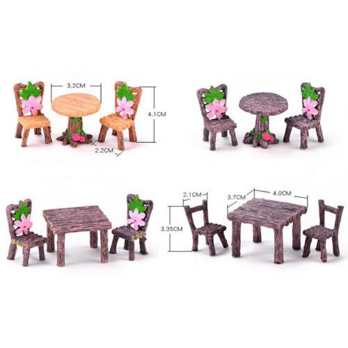 3x//set Table Chair Craft Mini Miniatures Figurine Garden Decor Micro Landsca OQF