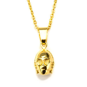 Star-Wars-C-3PO-3D-Pendant-Gold-PVD-Plated-Stainless-Steel-Necklace