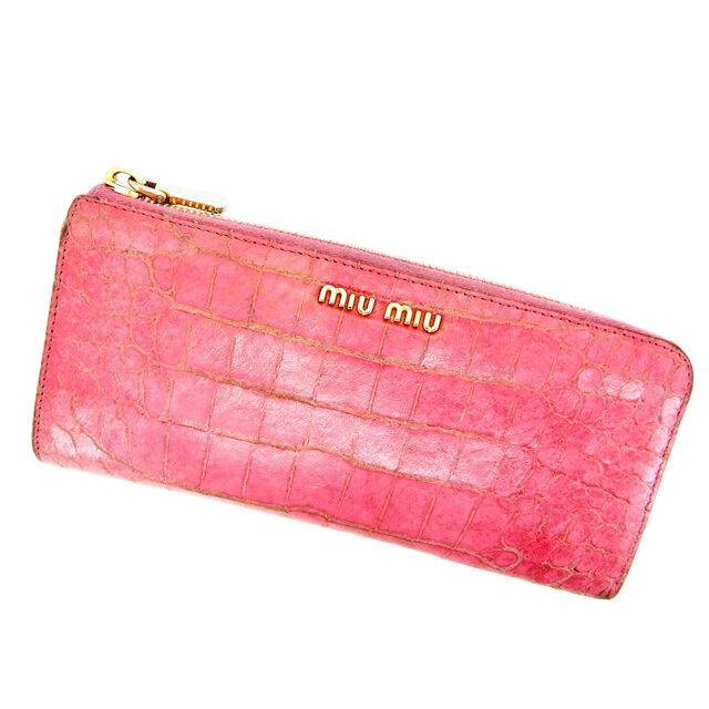miumiu Wallet Purse Long Wallet Pink Woman Authentic Used Y500
