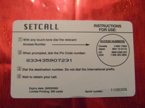 SETCALL 500 ex 10 $ RARE CARTE TELEPHONIQUE NEUVE SERGE GAINSBOURG