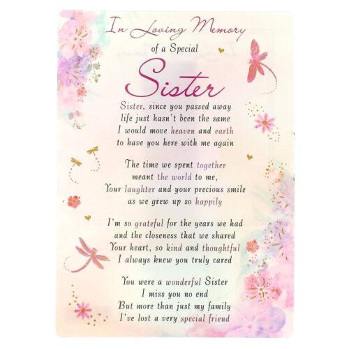In Loving Memory Open Graveside Memorial Card Special Sister