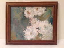 Vintage Impressionist Abstract Floral Oil Painting in a Wood Frame Signed