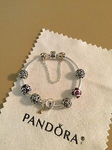 Image Is Loading Authentic Pandora Bracelet With Mixed Metals Charms Safety