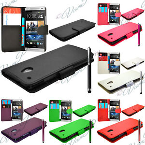 HTC-One-Mini-M4-Etui-Cuir-Clapet-Portefeuille-Housses-Coque-Protection-Stylet