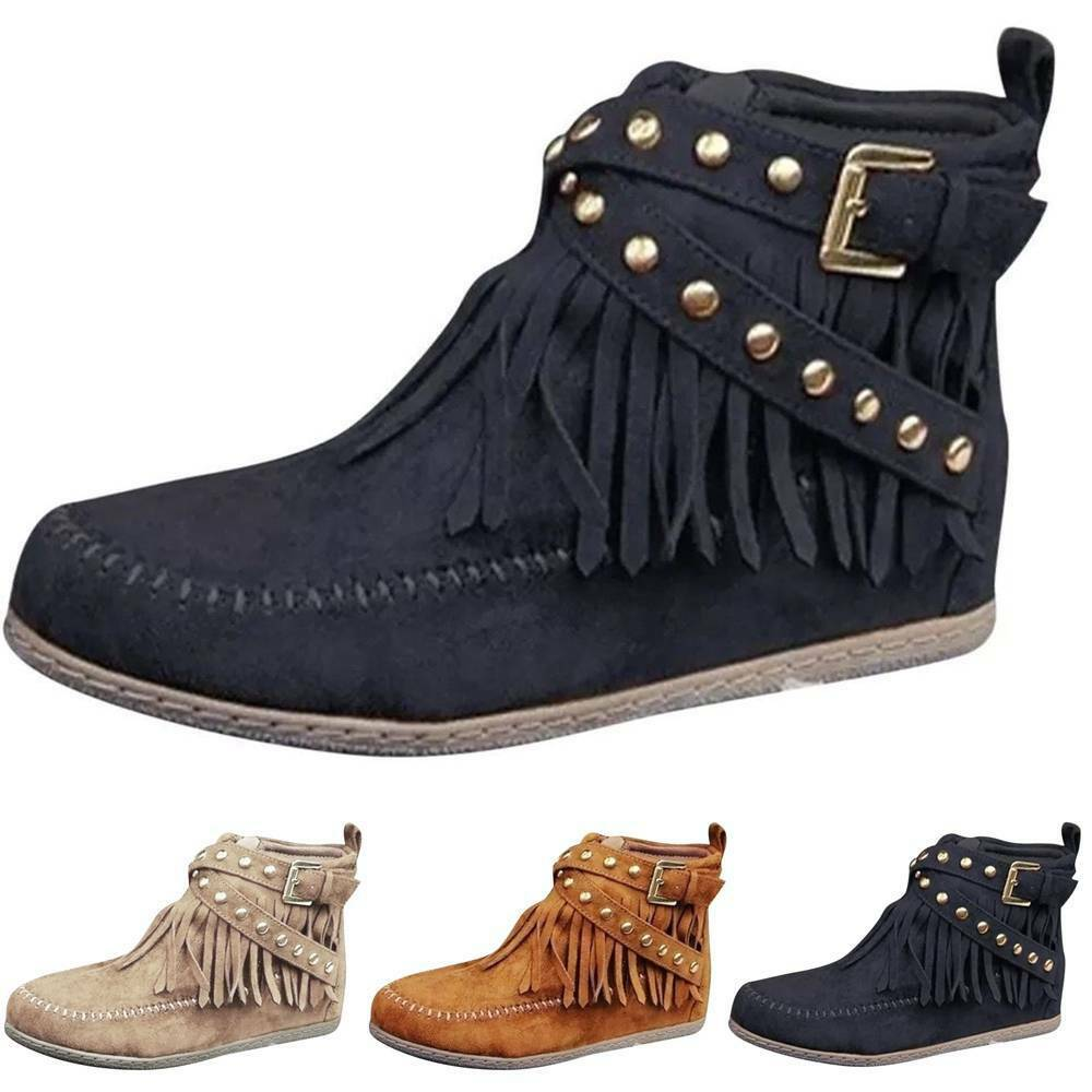 Womens Tassells Fashion Casual Boat Shoes Booties High Top Ankle Boots Winter