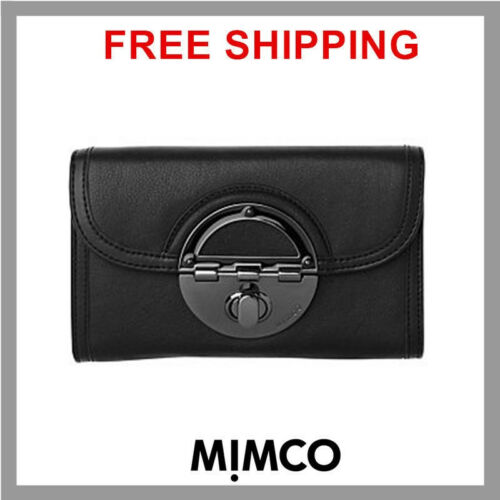 GENUINE Mimco Amazonia Turnlock XL wallet purse BLACK Leather GUNMETAL