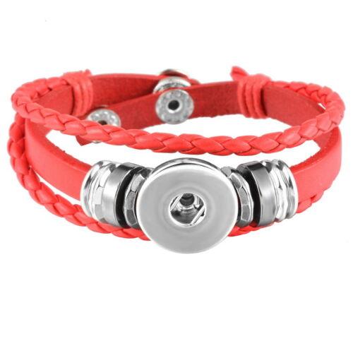 5 Bracelet Breloque Multilayer Cuir PU Rouge pr Bouton Pression DIY 21cm
