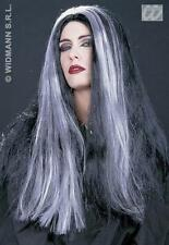 Long Black And White Morticia Wig Adams Family Halloween Fancy Dress