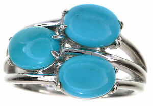 Sleeping-Beauty-Green-Turquoise-3-Stone-Sterling-Silver-Ring-Size-6