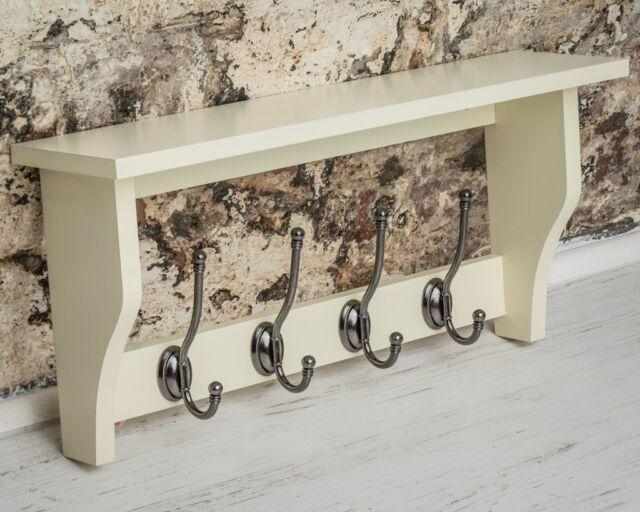 Cream Heritage Painted Hallway Kitchen Wood Shelf Coat Rack Grey Metal 4 Hooks