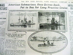 1908 newspaper with text and 3 photos of very early US MILITARY SUBMARINES