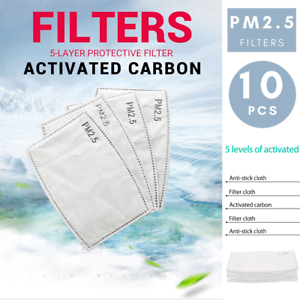 10 PCS PM2.5 P2 Face Mask Filter Activated Carbon Breathing Filters Adult