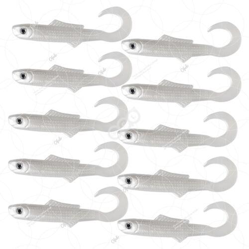 """White 10pcs 4/"""" Blams Swimbaits Squid wham swim tail minnow Fishing Soft Lure"""