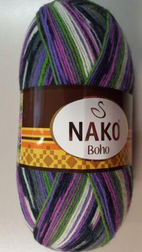 Nako Boho Sock Yarn #81265 Purple Lilac Green Grey /& White Mix 100g