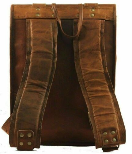 Men/'s Real Leather Backpack Laptop Bag Large Hiking Travel Camping Carry On