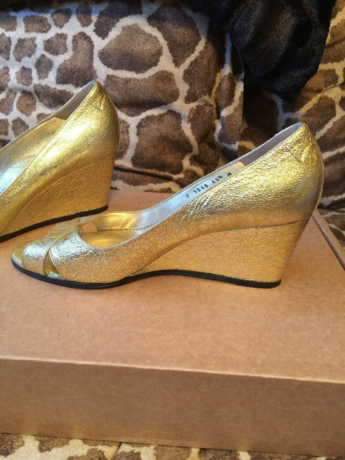 TARYN Rosa Bright Gold Crinkled Leather Open Toe Toe Toe Wedges Heels Pumps schuhe 40.5 114077
