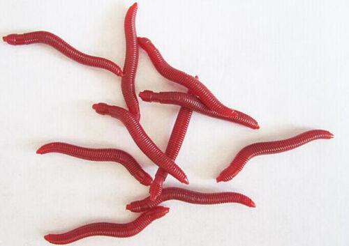 50PCS Soft Worm Lures Red Earthworm Fishing Bait  Hooks Baits Tackl Crankbaits