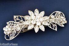 Pasador de novia el pelo pinza de agarre Flor Hoja Cristal Diseño en tono plata baile de graduación