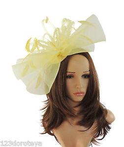 89db7087181e7 Image is loading Lemon-Yellow-Fascinator-Hat-for-weddings-ascot-proms-