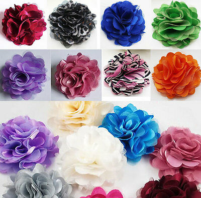 Fancy Blooming Flowers Brooch Hair Pins Clips Accessory Silk Lace Tulle Badge