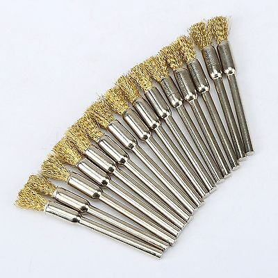 5mm Brass Rotary Wire Wheel Pencil Polising Brushes for Power Drill Tool 15PCS