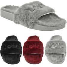 23cc72c7cc22 item 2 Womens Ladies Fur Slides Sliders Love Slippers Comfort Cushioned  Slip On Size -Womens Ladies Fur Slides Sliders Love Slippers Comfort  Cushioned Slip ...