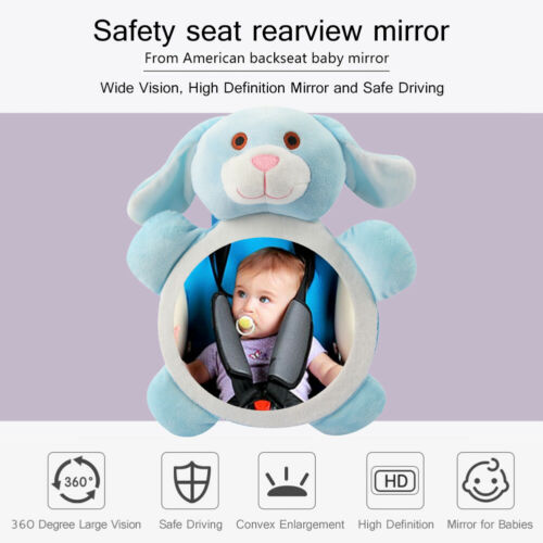 Cartoon Puppy Car Adjustable Rearview Mirror Infant Safety Seat Back Mirror //Neu