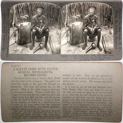 Keystone Stereoview BELGIAN CONGO Chief w//Musical Instruments RARE 1200 Card Set