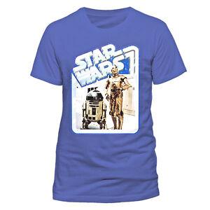 Star-Wars-T-shirt-R2-D2-amp-C-3PO-Droids-Retro-Badge-S-M-L-XL-XXL-Blue-Official