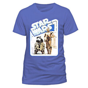 Star-Wars-Camiseta-R2-D2-amp-C-3PO-Droids-Insignia-Retro-S-M-L-XL-XXL-Azul-Oficial