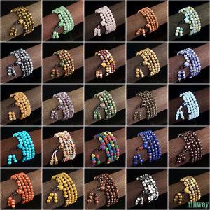 Natural-Gemstone-Stretchy-Beaded-Bracelet-Necklace-6mm-108-Prayer-Healing-Beads