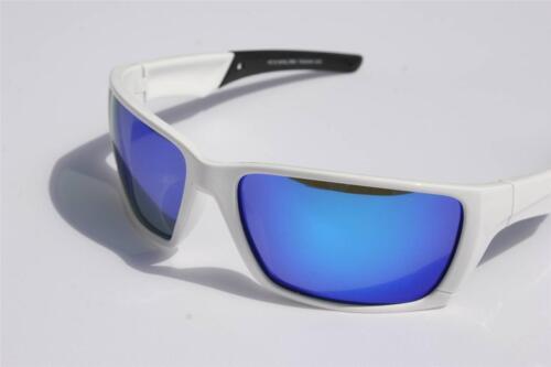 Men White Polarized sunglasses Blue mirror lens Anti-Glare fishing motor-cycle