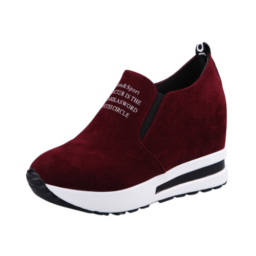 Women  Casual Flock Slip-On Thick Platform Sport Sneakers Wedges Shoes