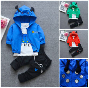 3pcs Baby Clothes kids boys fall soft cotton outfits tracksuit coat /&Tee /&pants
