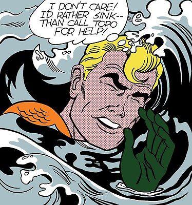 """Roy Lichtenstein aqua man drowning Large  Canvas  20"""" x 20""""  AUSSIE SELLER"""
