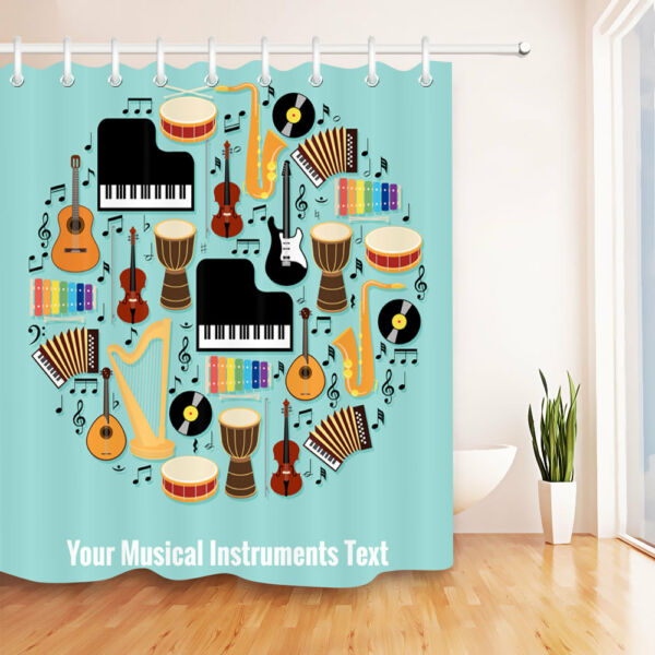 musical instruments pattern shower curtain set bathroom mat waterproof fabric hover to zoom - Musical Shower Curtains