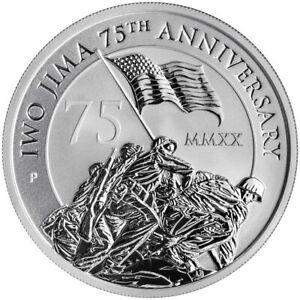 2020 P 1 oz Silver $1 Iwo Jima 75th Anniversary BU Brilliant Uncirculated COA