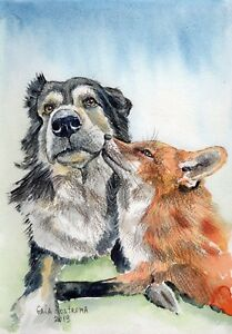 Dog-And-Fox-Are-Friends-Forever-original-watercolor-animal-painting-pet-vixen