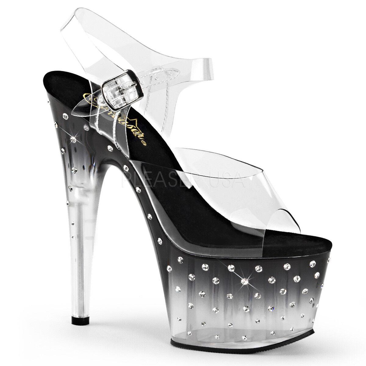 Pleaser STARDUST-708T Women's Clear Black Rhinestones Heel Platform Strap Sandal