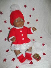 *26~Carol Ann Designs Baby Born Size Doll 5 Piece Christmas Set Knit Patter