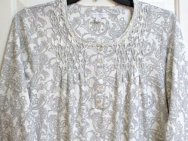 Charter Club  XL Nightgown Long sleeve womens Cotton gown White Grey NWT