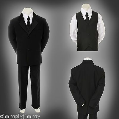 Baby Infant Toddler Kid Teen Formal Wedding Black Boy Suit Tuxedo 5pc Set S-20